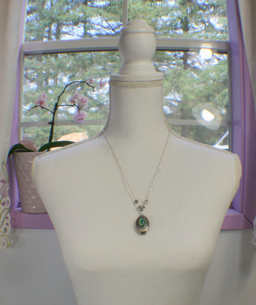 Green Glass Opal Silver Photo Locket