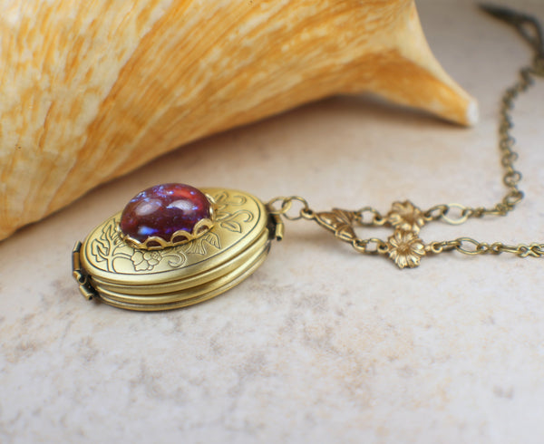 Dragons Breath Fire Opal Bronze Photo Locket