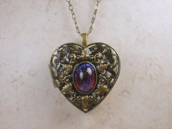 Red Dragons Breath Glass Opal Music Box Locket