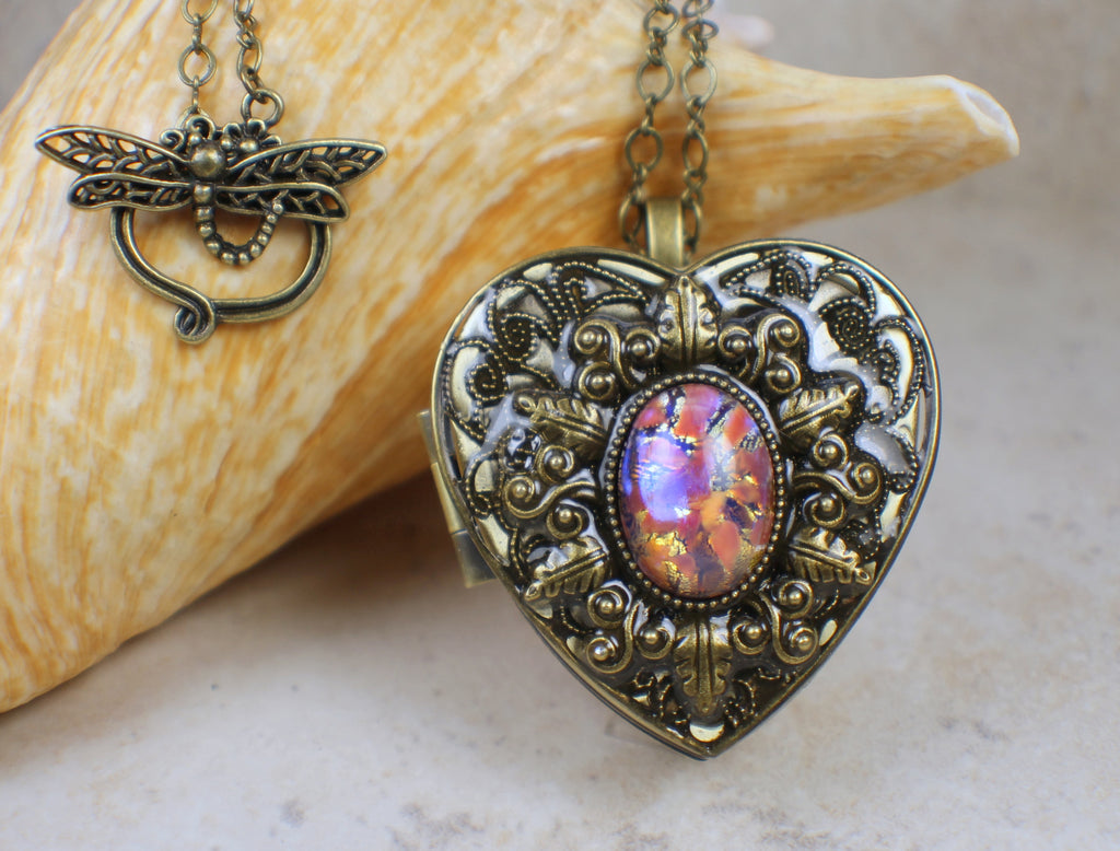 Pink and Gold Glass Opal Music Box Locket