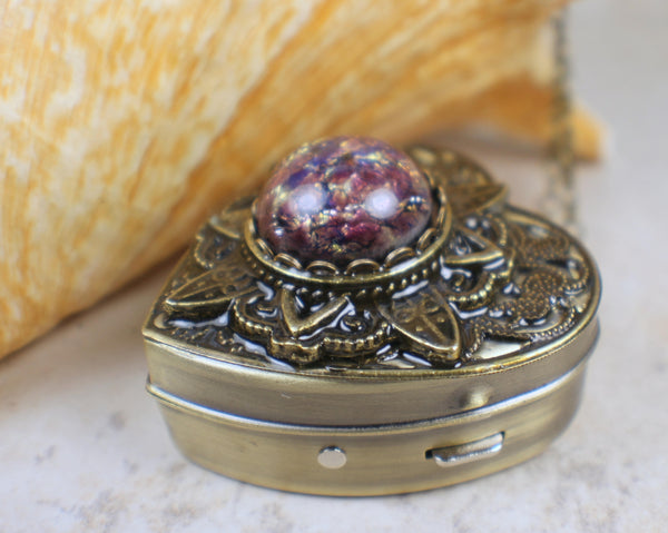 Amethyst Glass Opal Music Box Locket