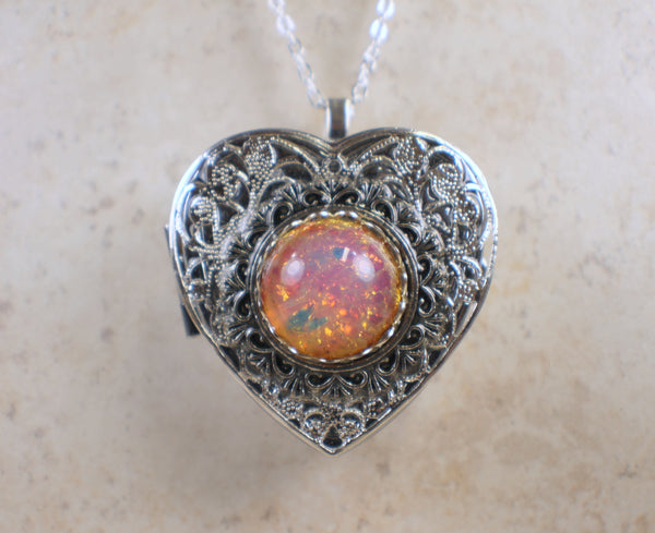 Pink Glass Opal Silver Music Box Locket