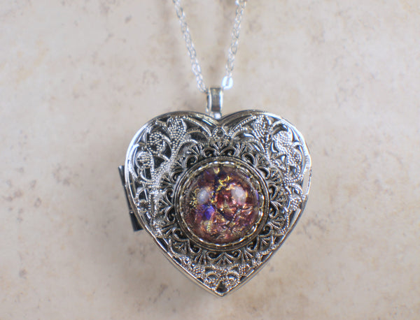 Amethyst Glass Opal Silver Music Box Locket