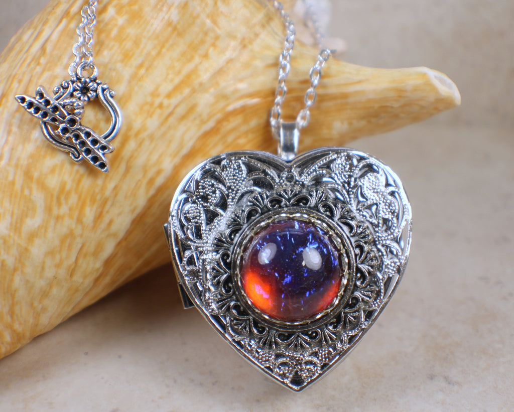Dragon's Breath Red Glass Opal Silver Locket