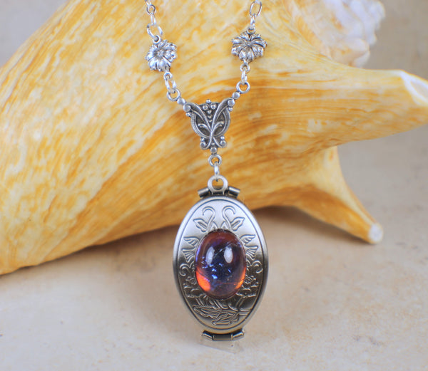 Dragons Breath Red Glass Opal Silver Photo Locket