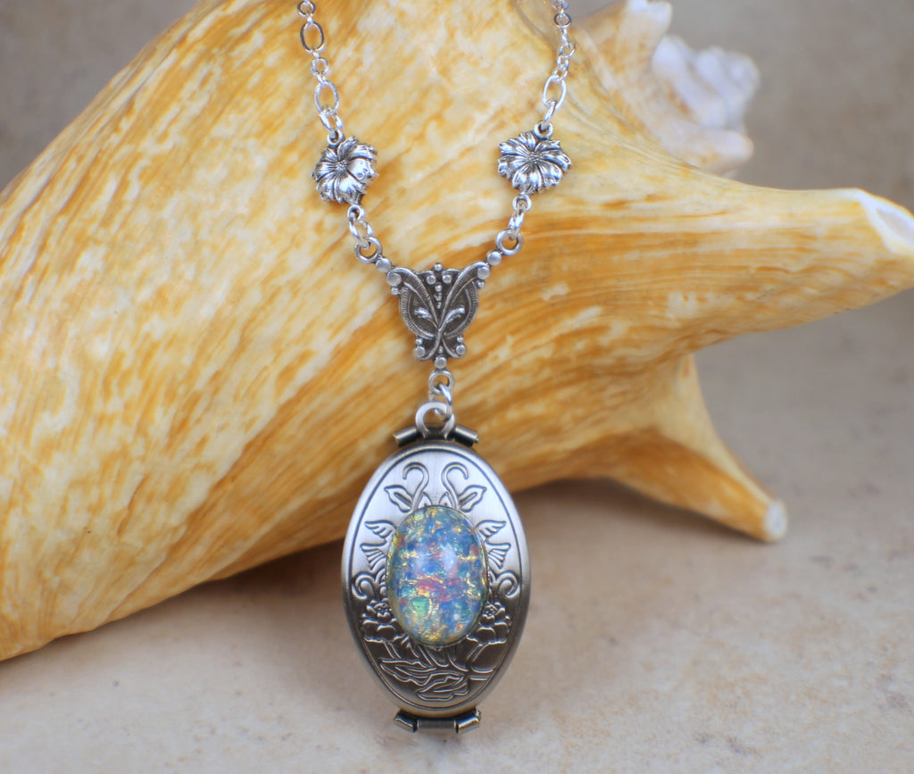 Blue Harlequin Glass Opal Silver Photo Locket