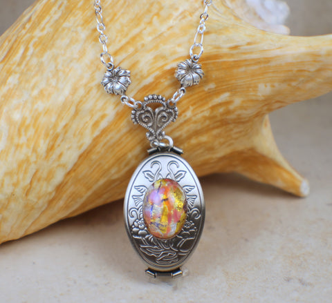 Monet Red Sunset Glass Opal Silver Photo Locket