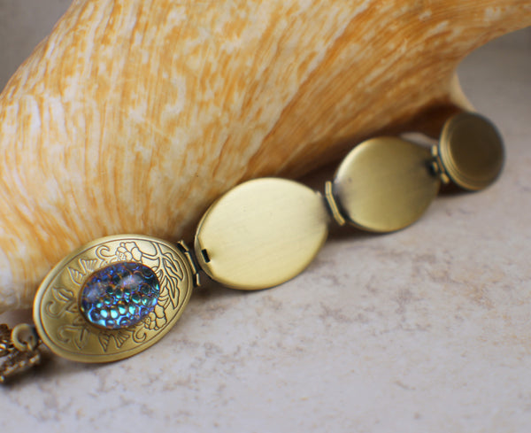 Blue Mosaic Glass Cabochon Bronze Photo Locket