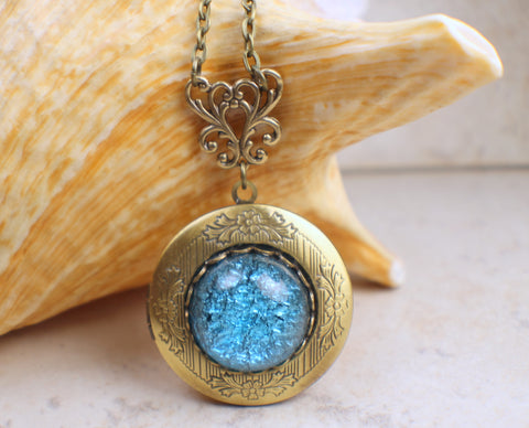 Aqua Blue Glass Fire Photo Opal Locket