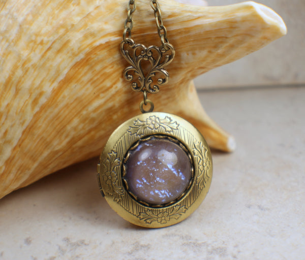 Blue Dragons Breath Opal Photo Locket