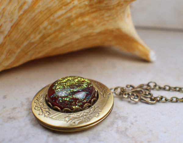 Red and Gold Dichroic Photo Locket