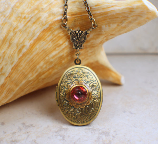 Pink Flower Photo Locket