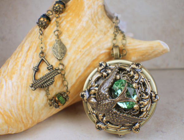 Green Crystal Dove Music Box Locket
