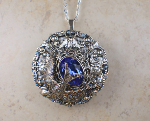 Blue Crystal Dove Music Box Locket