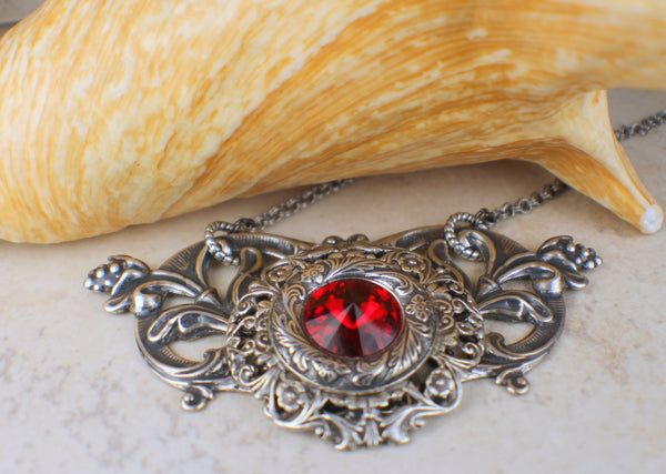 Gothic Red Crystal Necklace