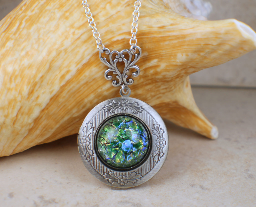 Emerald Green Glass Opal Photo Locket