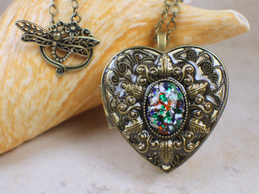 Primary Colors Glass Opal Music Box Locket