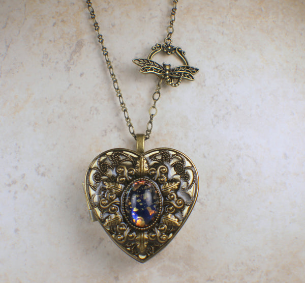 Blue and Gold Glass Opal Music Box Locket