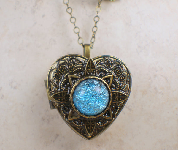 Aqua Glass Opal Music Box Locket