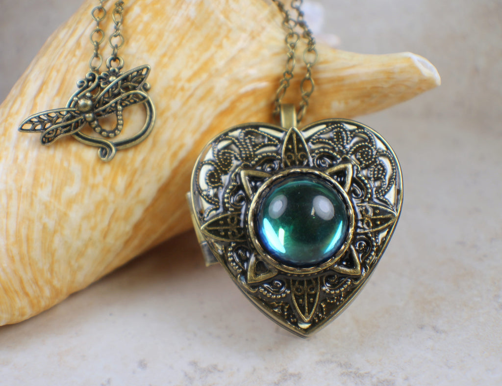 Bermuda Blue Glass Opal Music Box Locket
