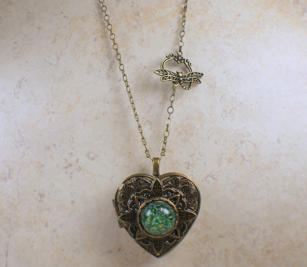 Emeral Green Glass Opal Music Box Locket