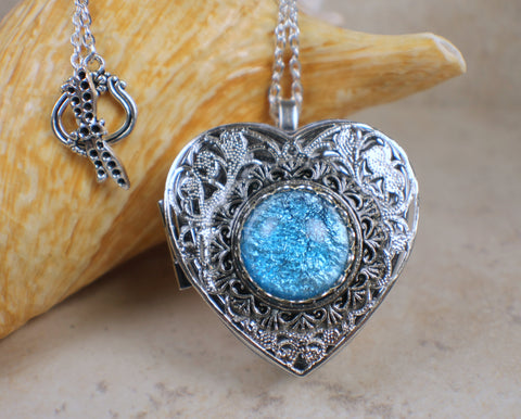 Aqua Blue Glass Opal Silver Music Box Locket