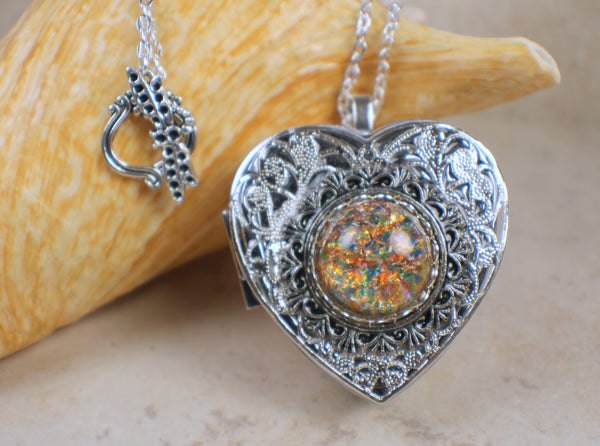 Monet Red Sunset Glass Opal Silver Music Locket