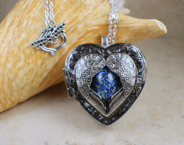 Silver Angel Wing Music Box Locket