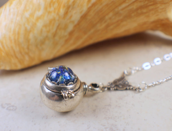 Sapphire Glass Opal Hidden Compartment Locket