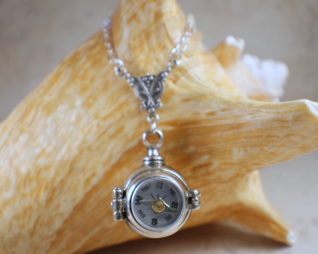 Hidden Compartment Compass Ball Locket