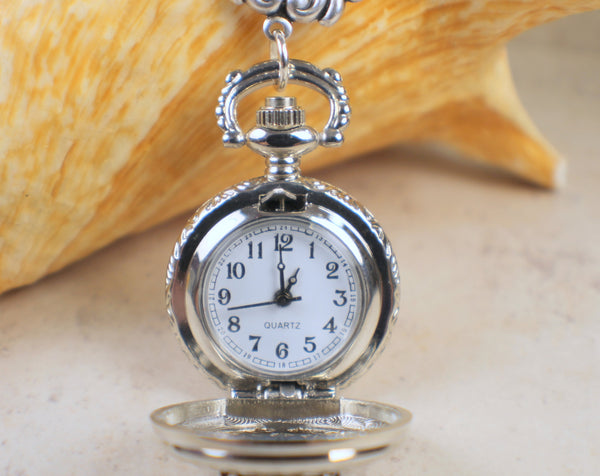 Dragons Breath Glass Opal Silver Pocket Watch