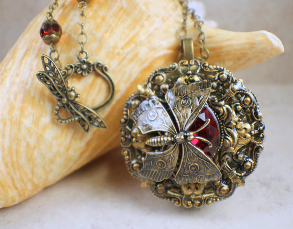 Red Crystal Butterfly Music Box Locket