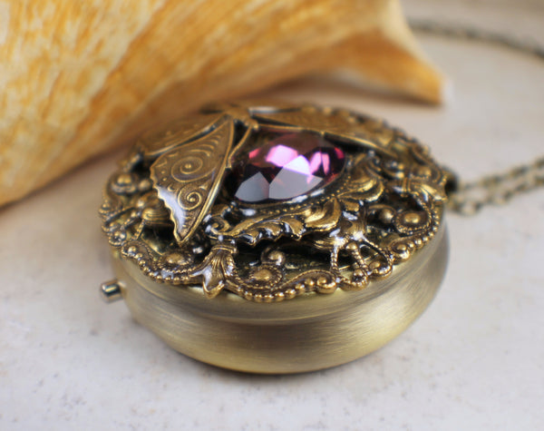 Purple Crystal Butterfly Music Box Locket