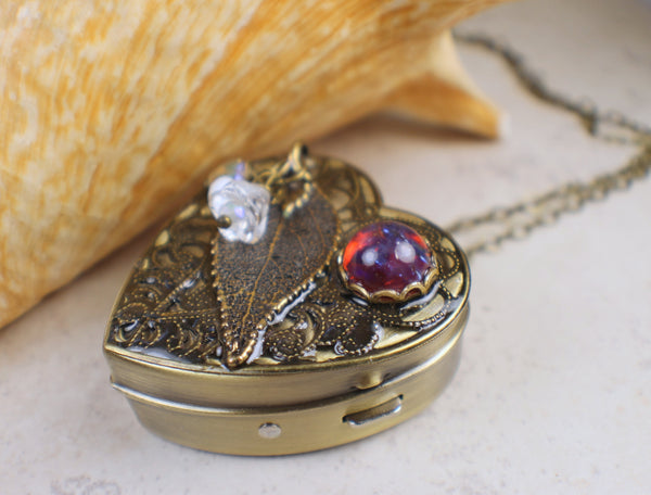 Real Rose Leaf Pendant Music Box
