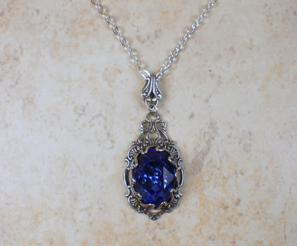 Swarovski Crystal Blue and Filigree Necklace