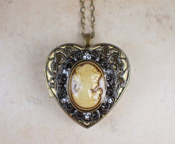 Cameo  Music Box Locket in Bronze