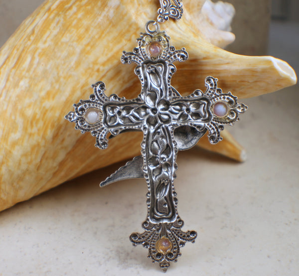 Silver Cross, Dove Cross, Victorian Cross