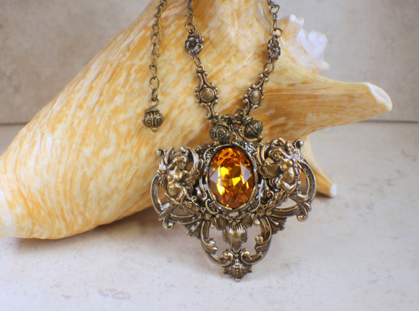 Renaissance Style Swarovski Gold Crystal Angel Necklace