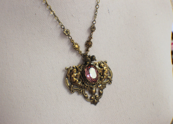 Renaissance Swarovski Crystal Rose Angel Necklace