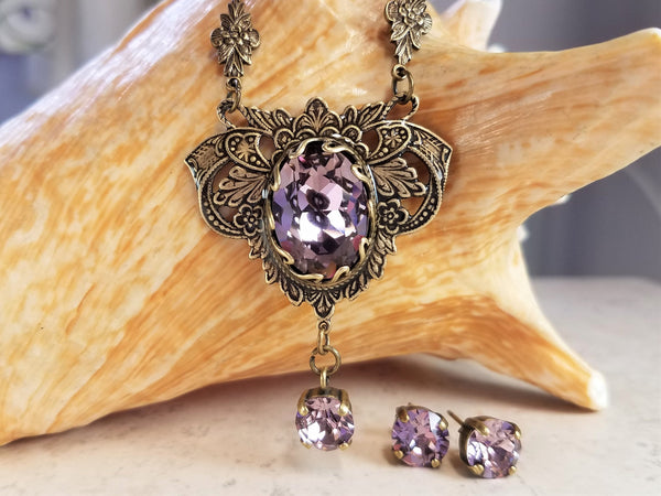 Amethyst Swarovski Crystal Jewelry Set