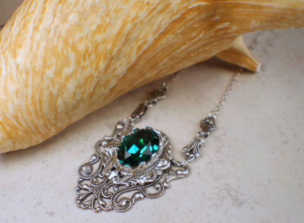 Gothic Emerald Swarovski Crystal and Filigree Necklace