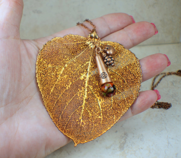 Real Copper Aspen Leaf Pendant