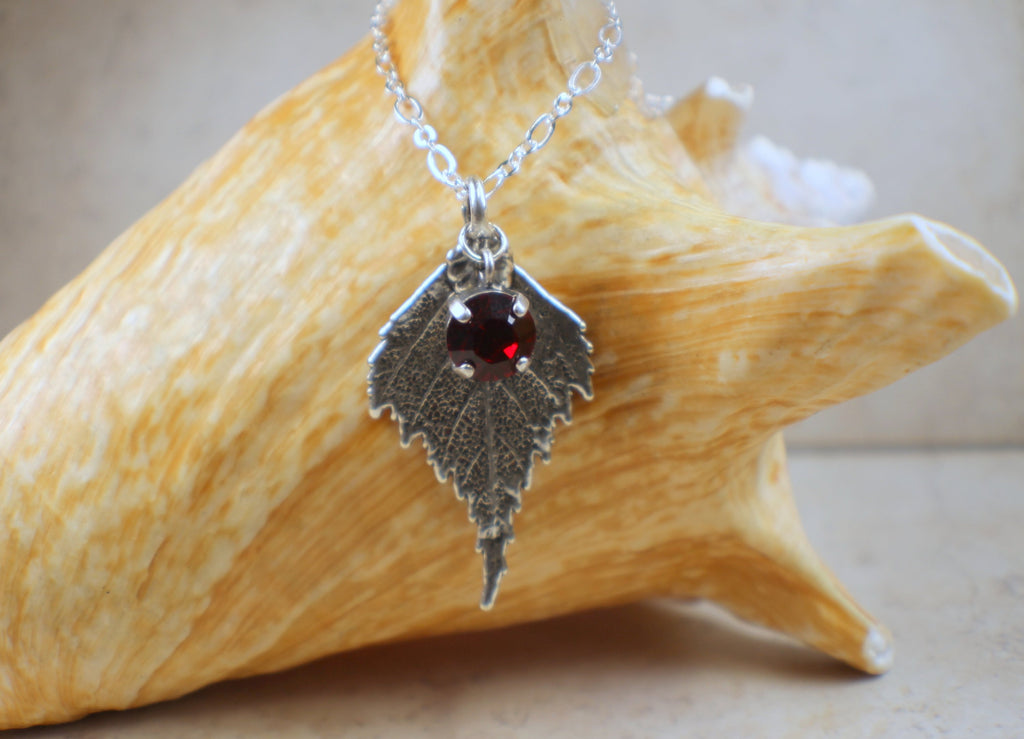 Real Birch Leaf Pendant in Silver