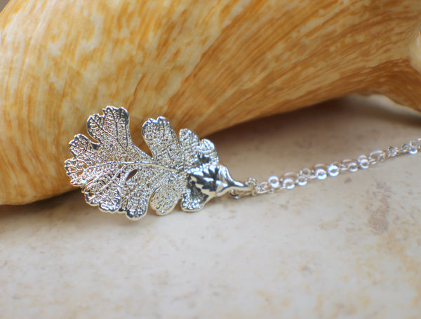 Real Oak Leaf Pendant in Silver