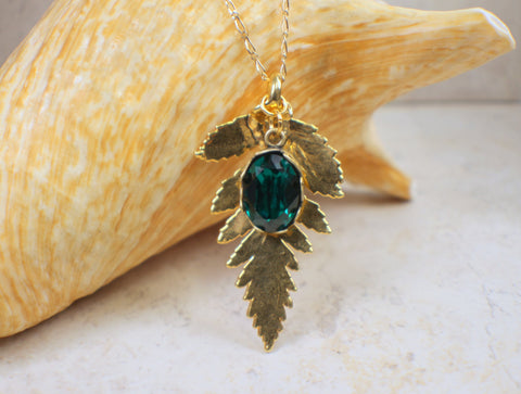 Real Gold Fern Leaf Pendant