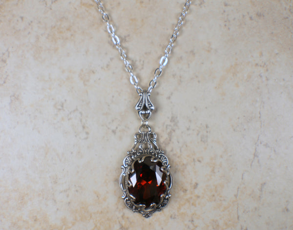 Gothic Swarovski Crystal Red Necklace