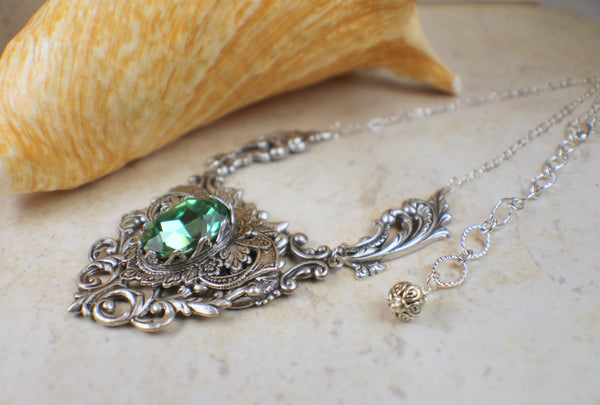 Gothic Peridot Swarovski Crystal Necklace