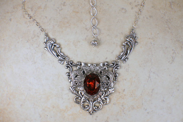 Red Swarovski Crystal and Filigree Necklace