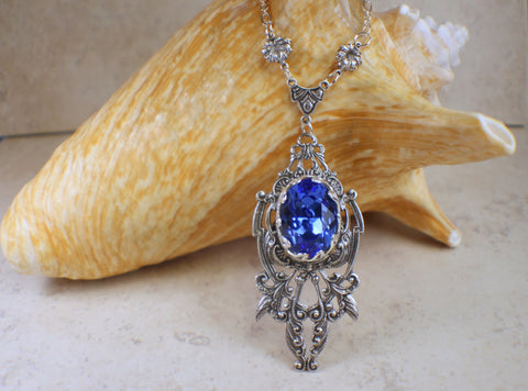 Sapphhire Blue Swarovski Crystal Necklace