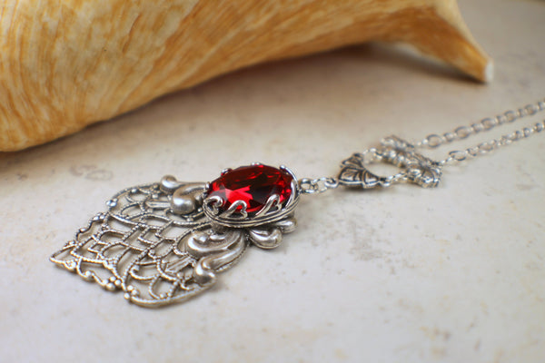 Red Swarovski Crystal Necklace